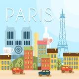 france som ska välkomnas Dragningar av Paris, stock illustrationer