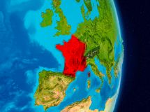 France from space. Country of France in red on planet Earth. 3D illustration. Elements of this image furnished by NASA Royalty Free Stock Photos