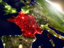 France from space highlighted in red Royalty Free Stock Images