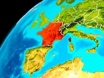 France from space. Orbit view of France highlighted in red with visible borderlines on planet Earth. 3D illustration. Elements of this image furnished by NASA Royalty Free Stock Image