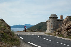 France Spain border. The east border between France and Spain in Catalonia Stock Photo