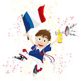 France Sport Fan. With Flag and Horn Stock Images
