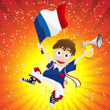France Sport Fan with Flag and Horn Stock Image