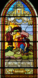 France, stained glass window in the church of Les Mureaux Stock Images