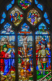 France, stained glass window in the Saint Martin church of Triel Royalty Free Stock Photography
