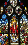 France, stained glass window in the Saint Martin church of Triel Stock Photography