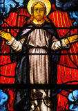 France, stained glass window in the Saint Martin church of Triel Stock Image