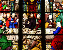 France, stained glass window in the Saint Martin church of Triel Stock Images