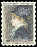 Model by Auguste Renoir. France - stamp 1968: Color edition on Art, shows Painting Model by Auguste Renoir Stock Photo