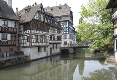 France, Strasbourg. Ancient houses. On the channel on the channel Stock Image