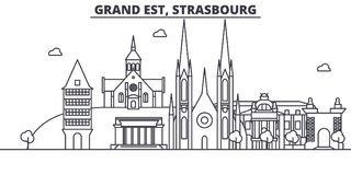 France, Strasbourg architecture line skyline illustration. Linear vector cityscape with famous landmarks, city sights. Design icons. Editable strokes Royalty Free Stock Images