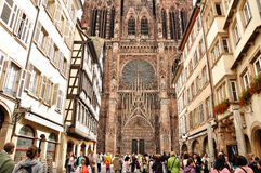 France Strasbourg cathedral 1. France Strasbourg cathedral front view Stock Photo