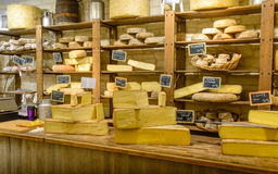 France,Strasburg 28 October 2015: Shop selling various handmade cheeses Royalty Free Stock Photography