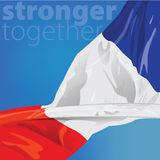 France Stronger together. Represent France with flag for design element. This vector file is organized in layers to separate Graphic elements from white stars Royalty Free Stock Image