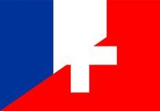 France switzerland flag. France switzerland neighbour countries half flag symbol Royalty Free Stock Photos
