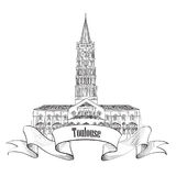 France symbol. Toulouse landmark sketch. Toulouse landmark basilica of Saint Sernin, south France. Roman architectural style church. Travel France symbol Stock Photography