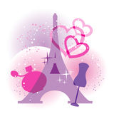 France symbols. Eiffel Tower, dummy, perfume and fireworks  silhouettes Royalty Free Stock Photo