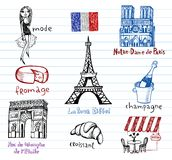 France symbols as funky doodles Royalty Free Stock Image