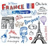 France symbols as funky doodles Stock Photography