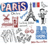 France symbols as funky doodles Stock Photos