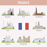 France. Symbols of cities. Vector set Stock Photos