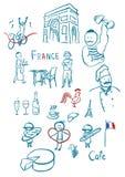 France symbols. Hand drawn vector set Stock Photography