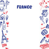 France Symbols Pen Drawn Doodles Vector Collection Royalty Free Stock Images