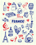 France Symbols Pen Drawn Doodles Vector Collection Stock Image