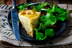 France tart with potato and bacon Royalty Free Stock Images