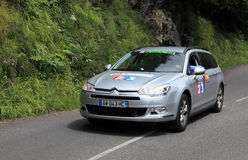 France Television car. Beost,France,July 15th 2011:Image of the official car of the France Television on the category H climbing route to mountain pass Abisque Royalty Free Stock Image