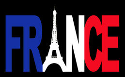 France text with Eiffel tower Royalty Free Stock Photography