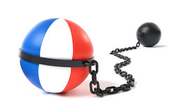 France tied to a Ball and Chain Royalty Free Stock Image