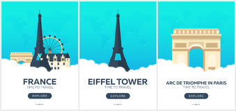 France. Time to travel. Set of Travel posters. Vector flat illustration. Stock Images