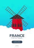 France. Time to travel. Travel poster. Vector flat illustration. Royalty Free Stock Photo