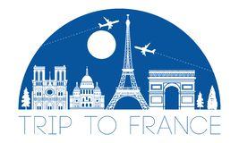 France top famous landmark silhouette and dome with blue color style,travel and tourism royalty free illustration