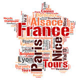 France top travel destinations word cloud Royalty Free Stock Photos