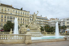 France. Toulon. On the Mediterranean sea, the picturesque port city of Toulon. There are about 20 fountains. The most beautiful fountain Tambourine Royalty Free Stock Images
