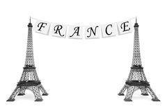 France Tourism Concept. France Sign on the rope with Eiffel Towe Royalty Free Stock Image