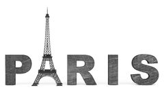 France Tourism Concept. Paris Sign with Eiffel Tower Stock Photography