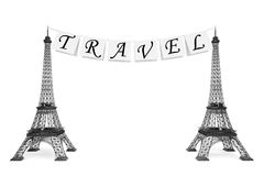 France Tourism Concept. Travel Sign on the rope with Eiffel Towe Royalty Free Stock Image