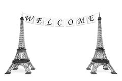 France Tourism Concept. Welcome Sign on the rope with Eiffel Tow Royalty Free Stock Photos