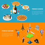 France Tourism 2 Isometric Banners Poster Royalty Free Stock Images