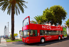 FRANCE. Touristic bus on the promenade in Nice Royalty Free Stock Photos