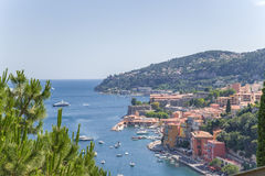 France. Town of Villefranche-sur-Mer and the bay of Villefranche Royalty Free Stock Photography