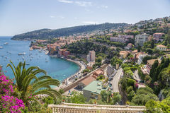 France. Town of Villefranche-sur-Mer and the bay of Villefranche royalty free stock image