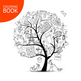 France travel, art tree sketch. Page for your coloring book Stock Photo