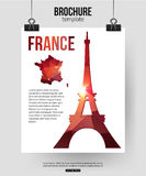 France travel background. Brochure with France map Stock Photos