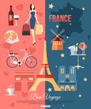 France travel background with place for text. Set. Of colorful flat icons, France symbols for your design. Vector illustration royalty free illustration