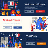 France travel banners set with famous French symbols Royalty Free Stock Images