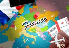 France travel concept map background with planes, tickets. Visit France travel and tourism destination concept. France flag on map royalty free illustration
